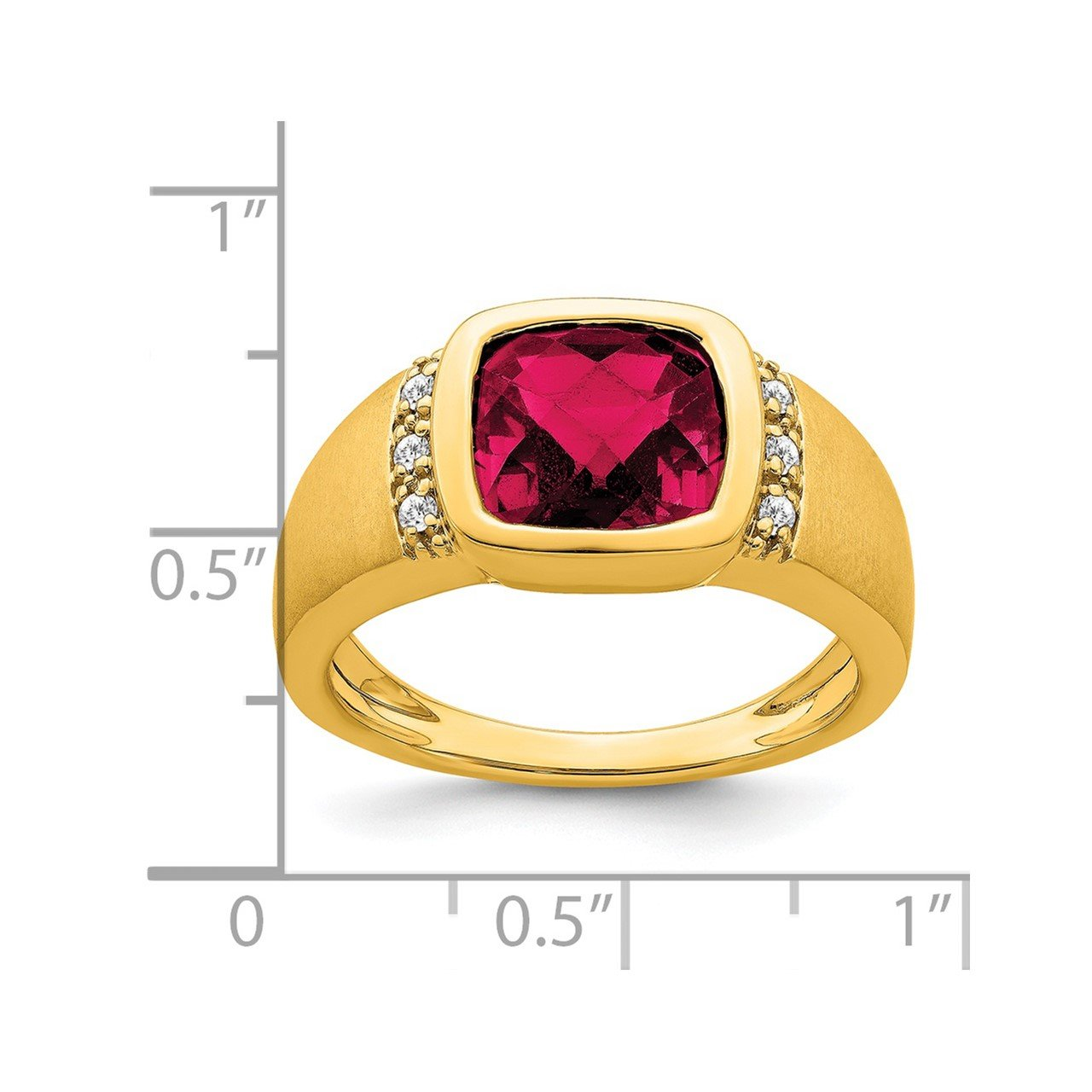 14k Created Ruby and Diamond Mens Ring-2