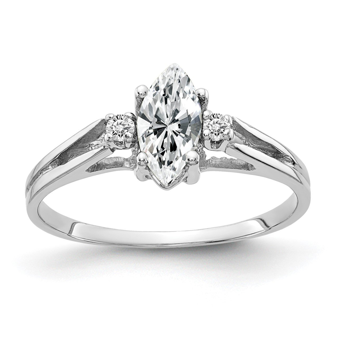 14k White Gold 8x4mm Marquise Cubic Zirconia A Diamond ring