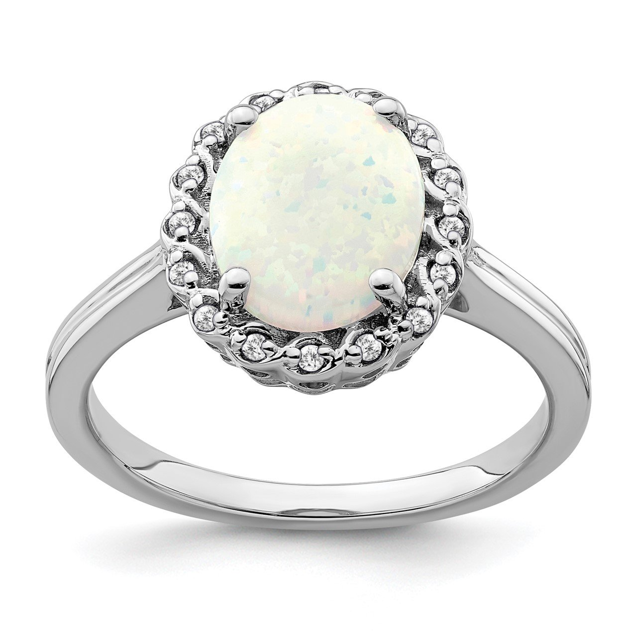 14k White Gold Created Opal and Diamond Halo Ring