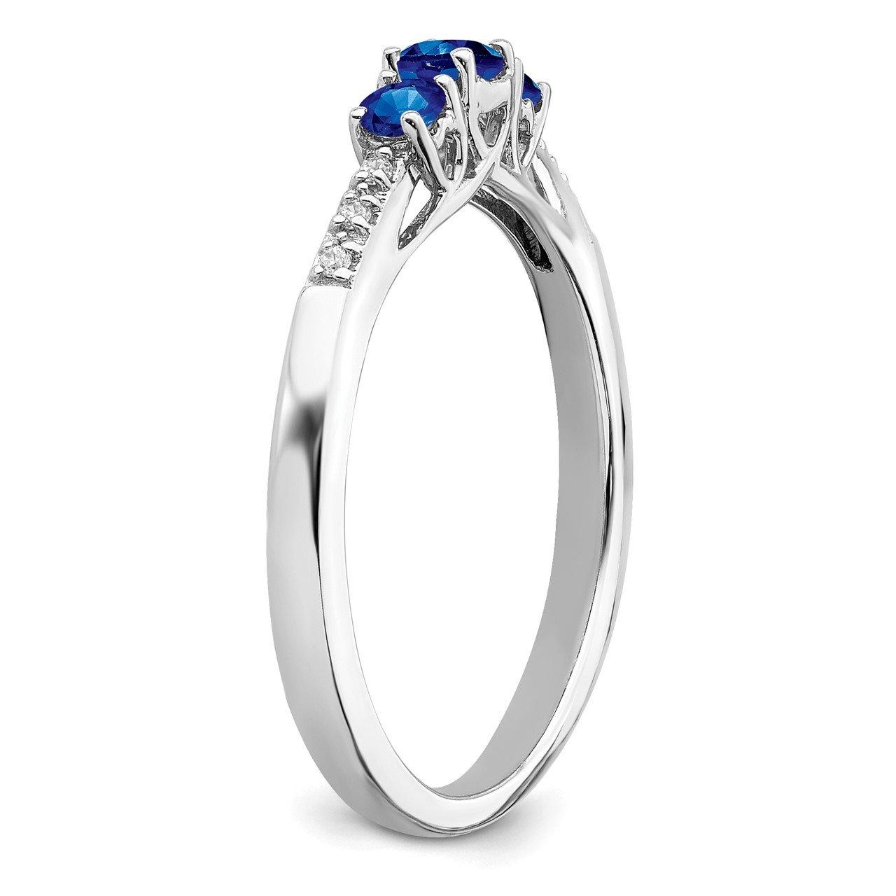 14k White Gold Sapphire and Diamond 3-stone Ring-6