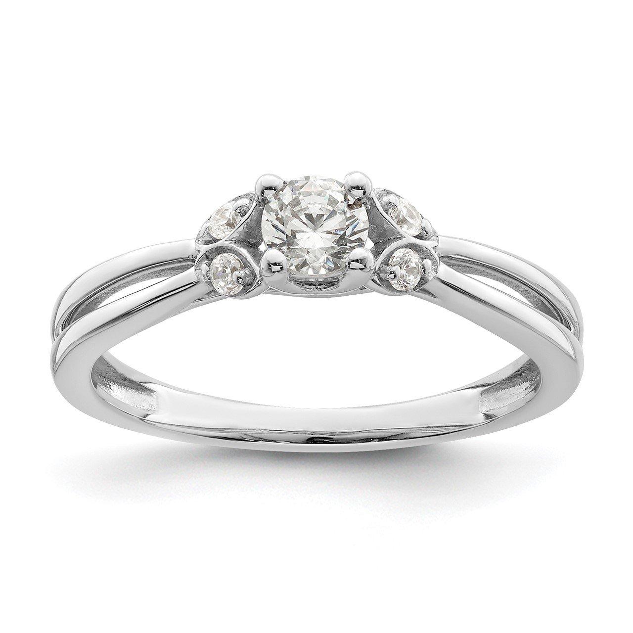 14K White Gold Polish Complete Round Dia. Engagement Ring