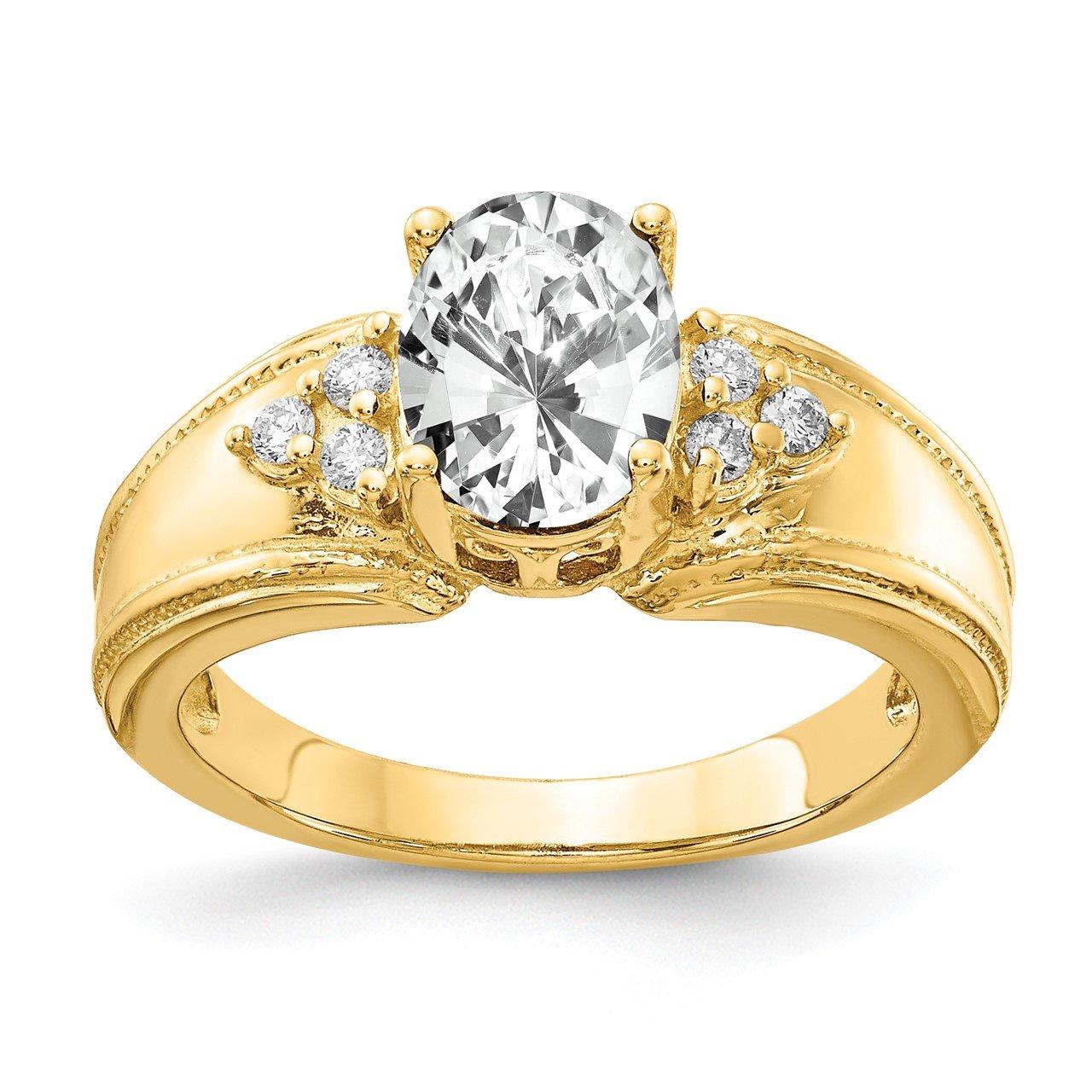 14k 8x6mm Oval Cubic Zirconia VS Diamond Ring