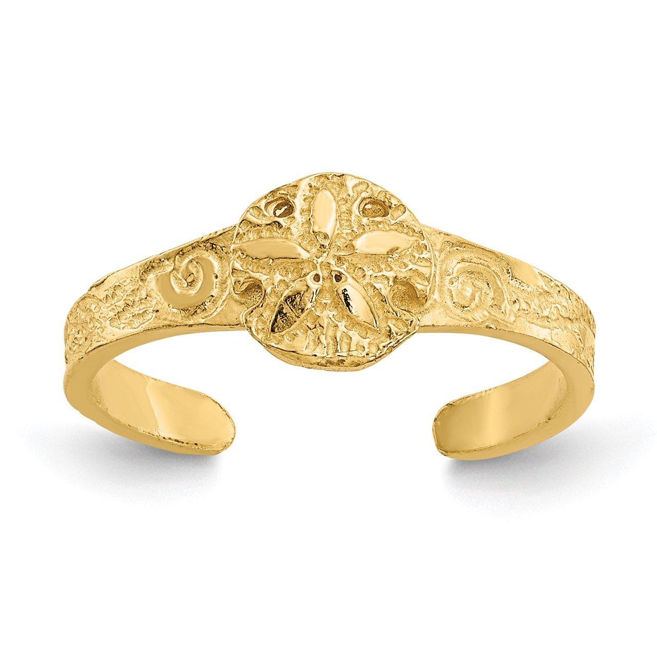 14K Diamond-cut Sand Dollar Toe Ring