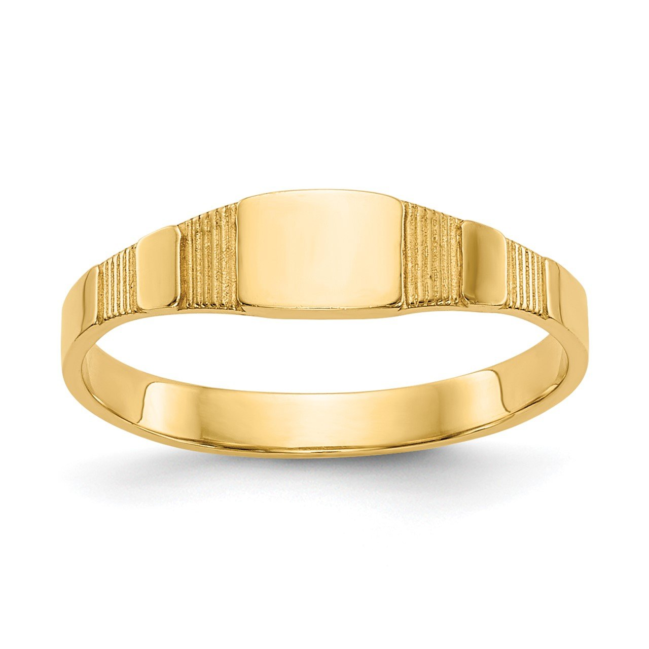14K Polished Square Baby Signet Ring