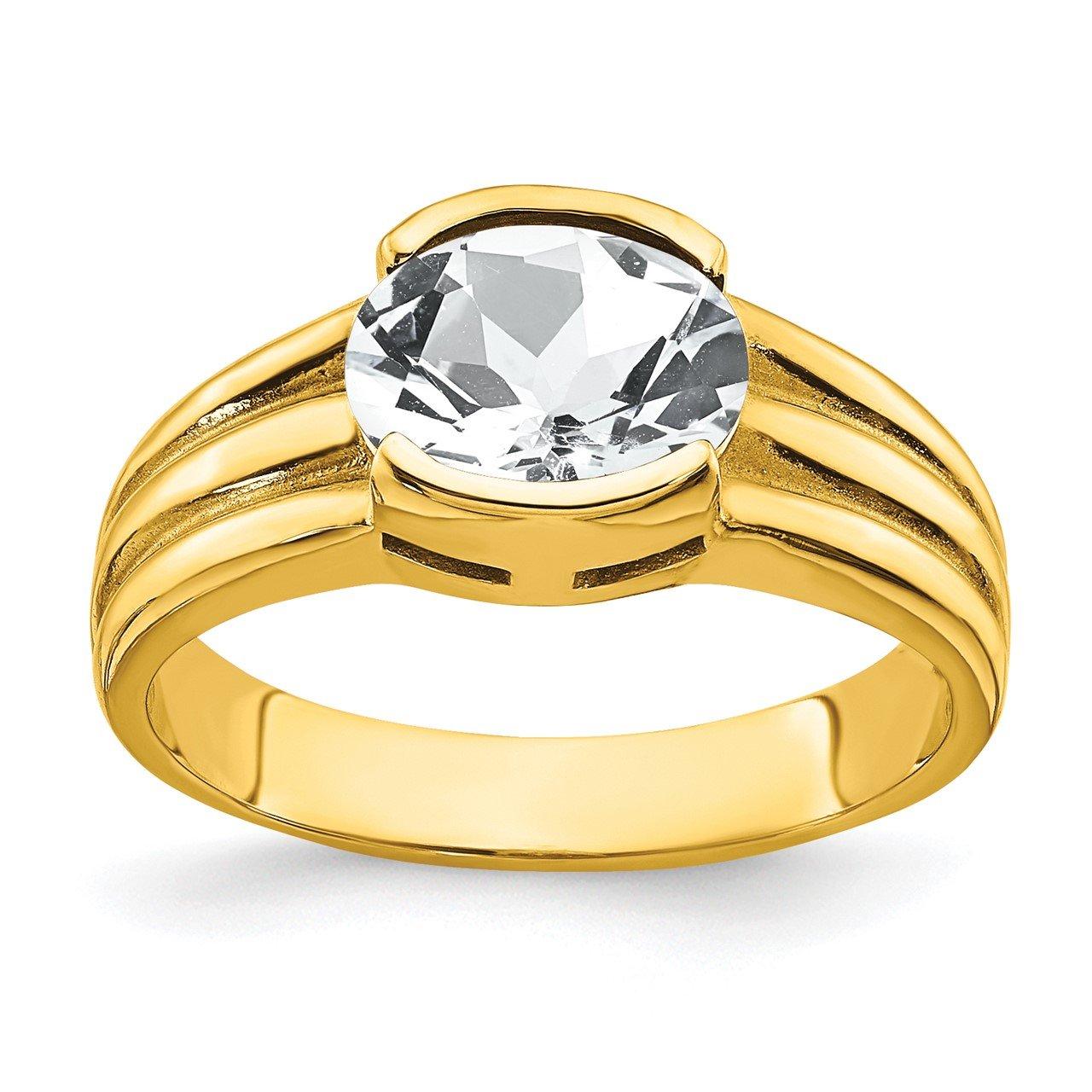 14k 8x6mm Oval Cubic Zirconia Ring