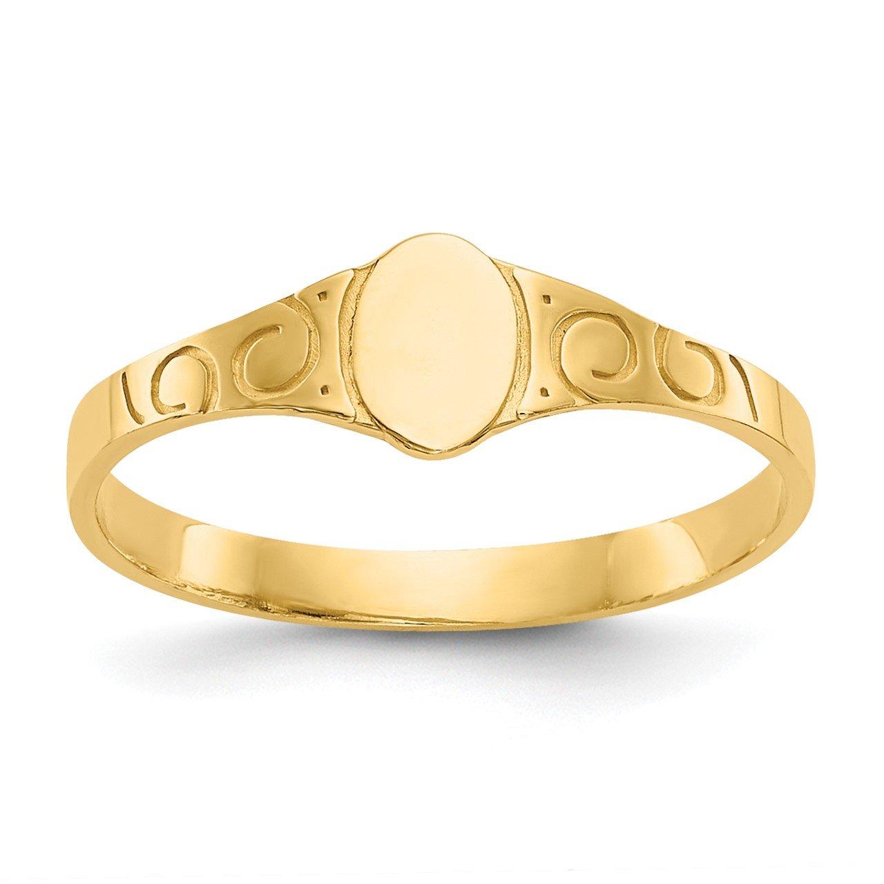 14k Polished Oval Baby Signet Ring