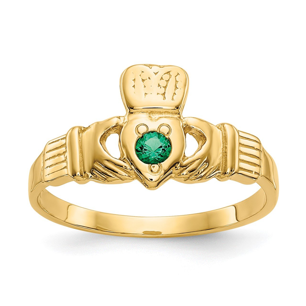 14k Green CZ Claddagh Ring