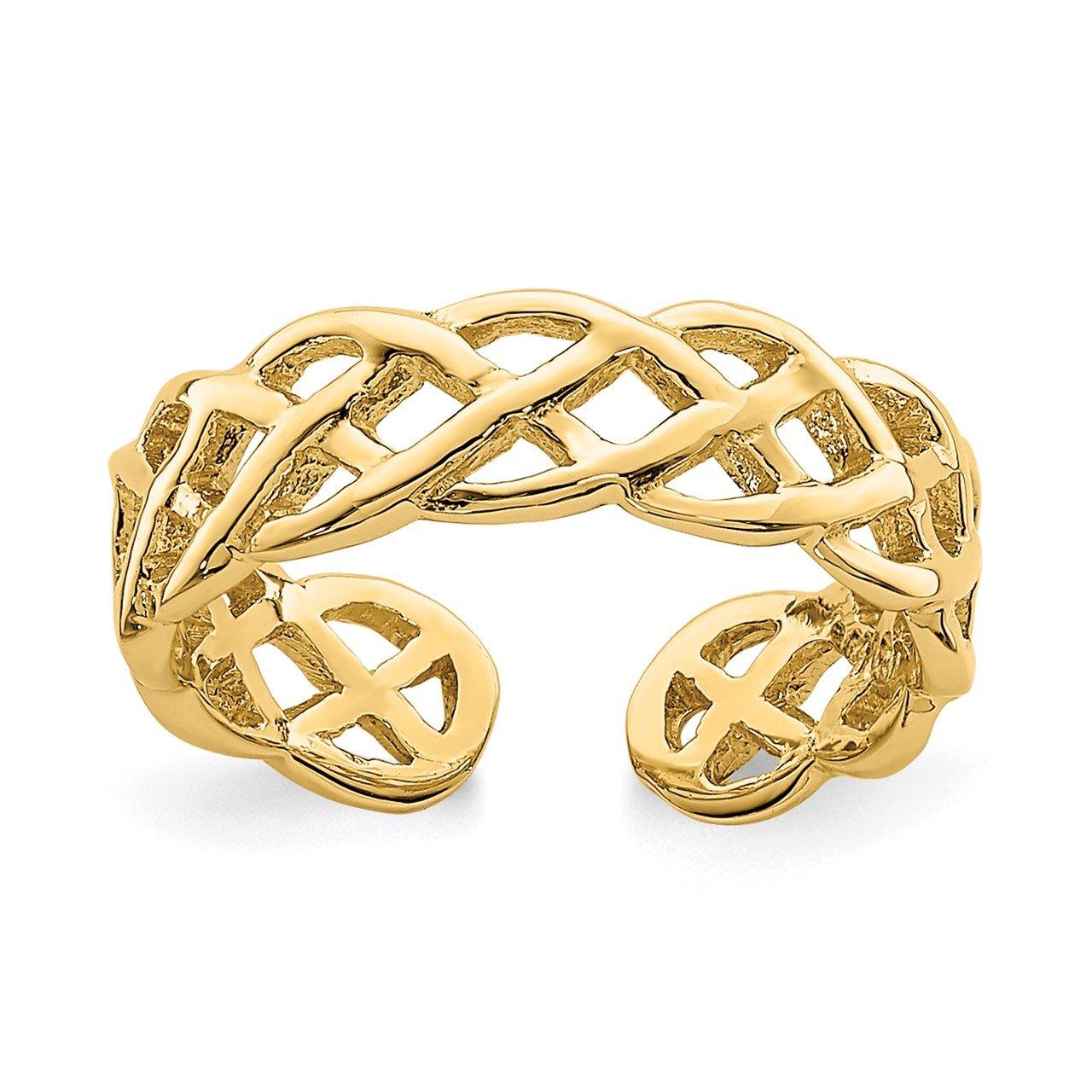 14K Polished Braided Toe Ring