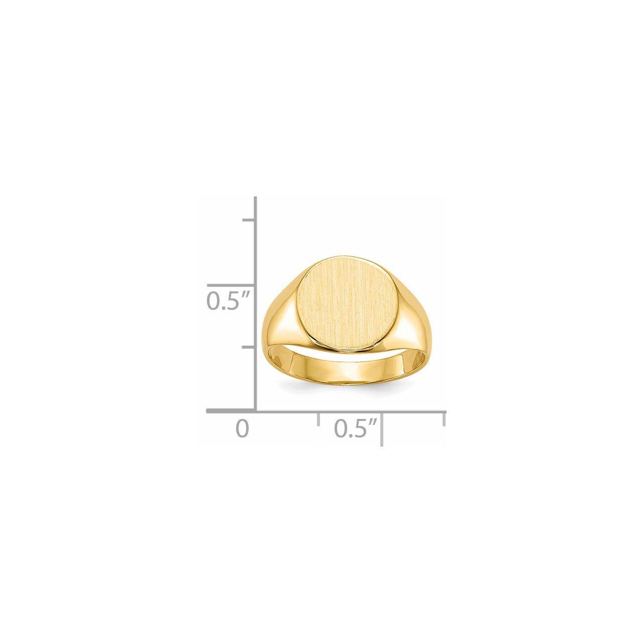 14k 10.5x11.0mm Closed Back Signet Ring-4