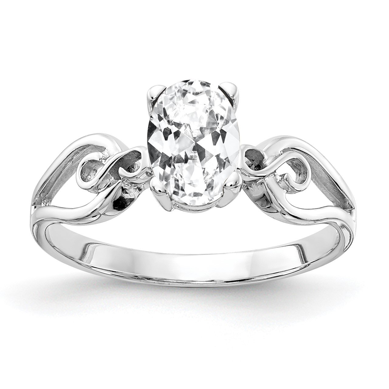 14k White Gold 8x6mm Oval Cubic Zirconia Ring