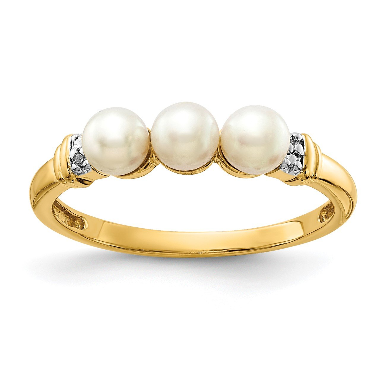 14k Diamond and FW Cultured 3-Pearl Ring