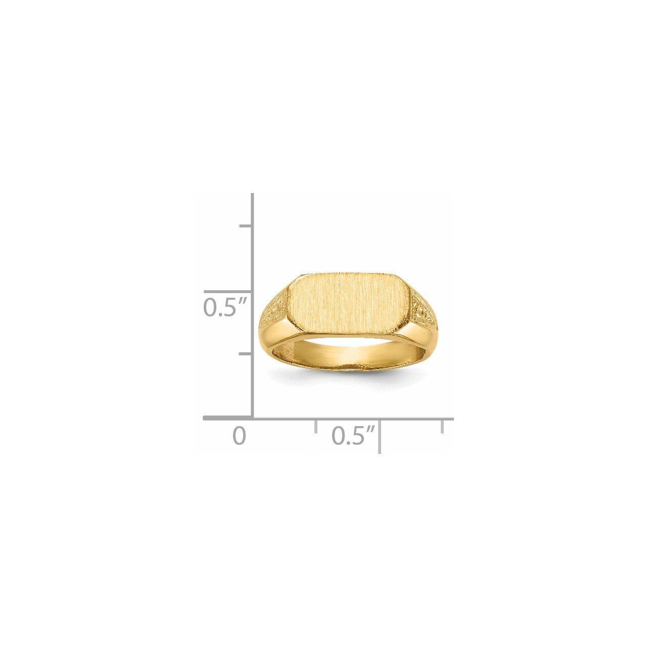 14k 6.0x12.5mm Closed Back Signet Ring-4