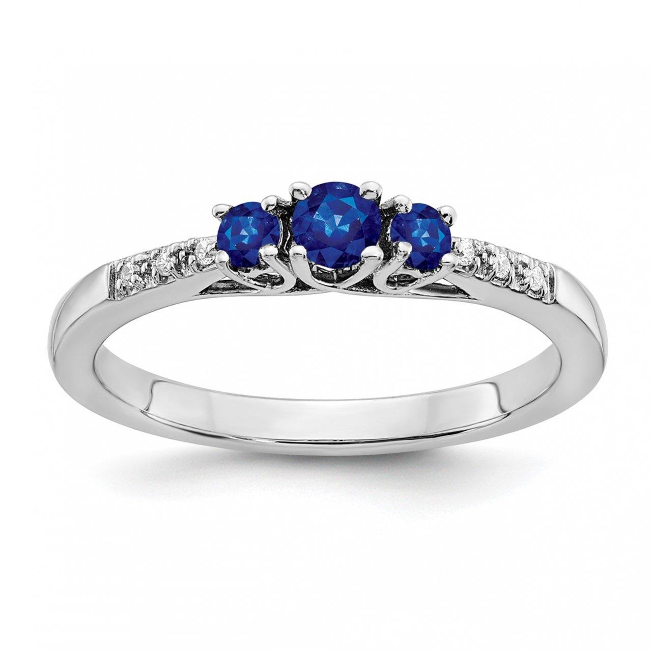 14k White Gold Sapphire and Diamond 3-stone Ring