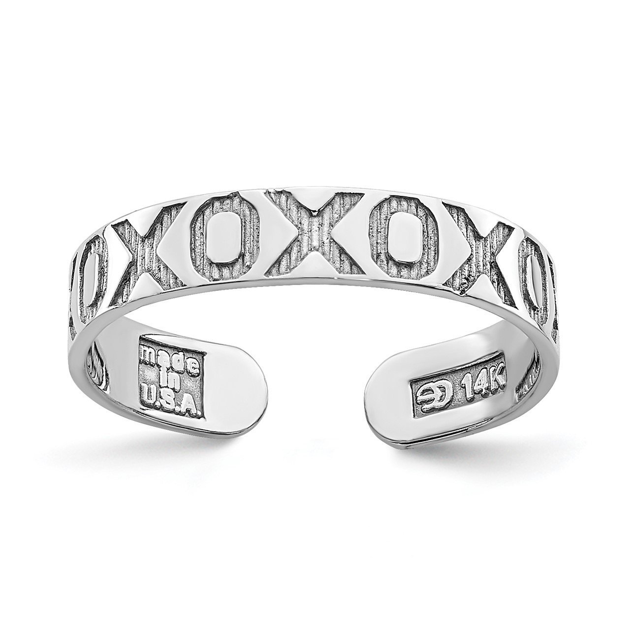 14K White Gold X and O Pattern Toe Ring