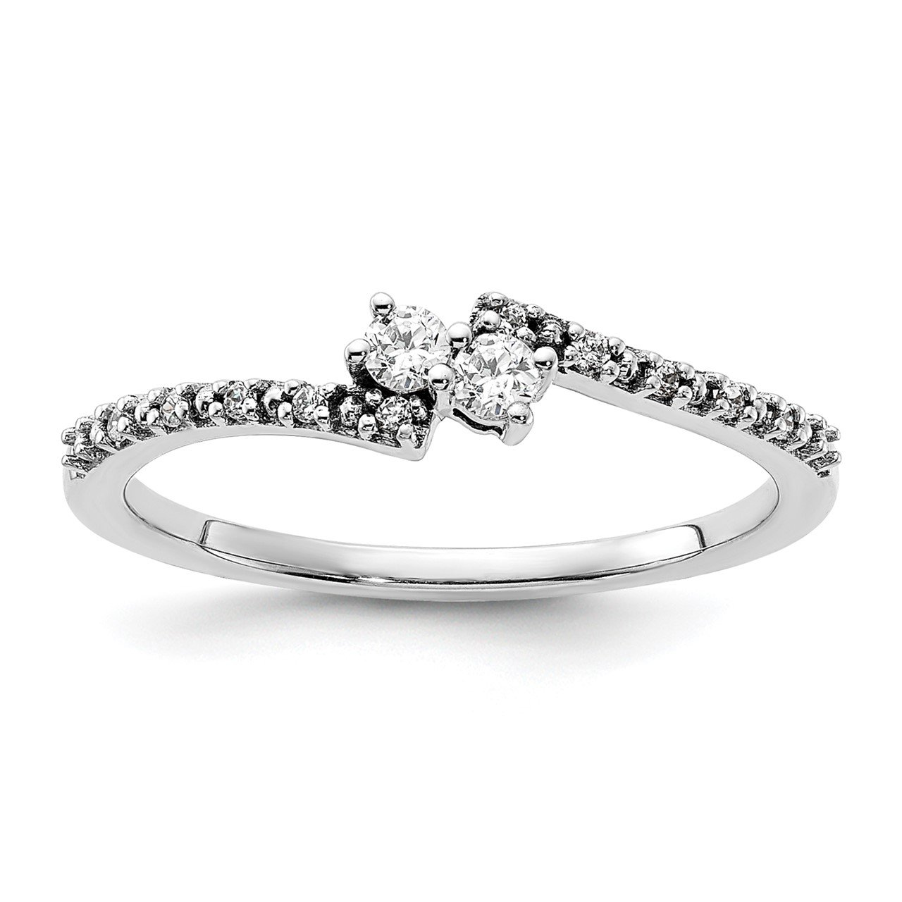 14k White Polish Complete Diamond Promise Ring
