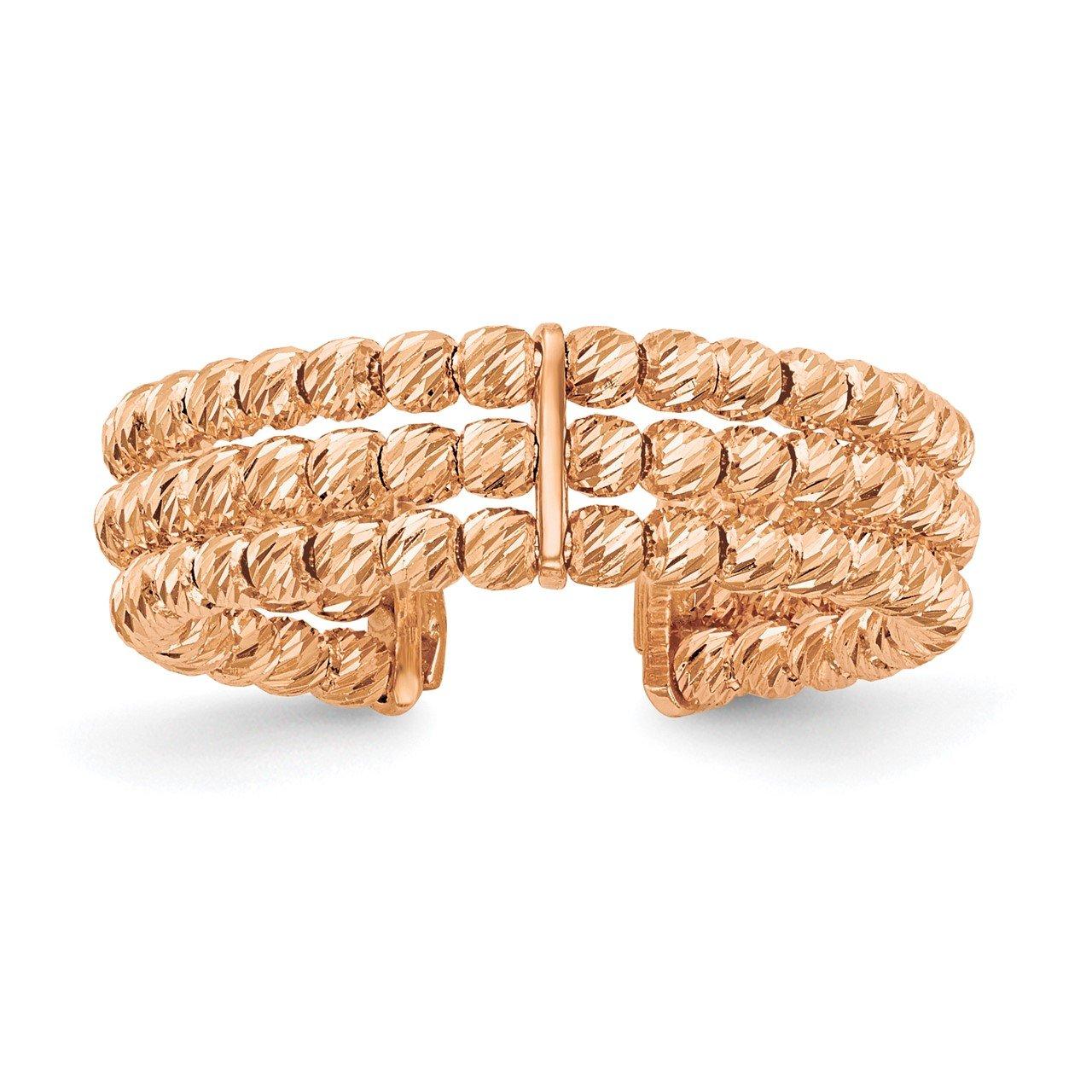 Leslie's 14K Rose Gold Polished D/C 3 Band Beaded Adjustable Ring