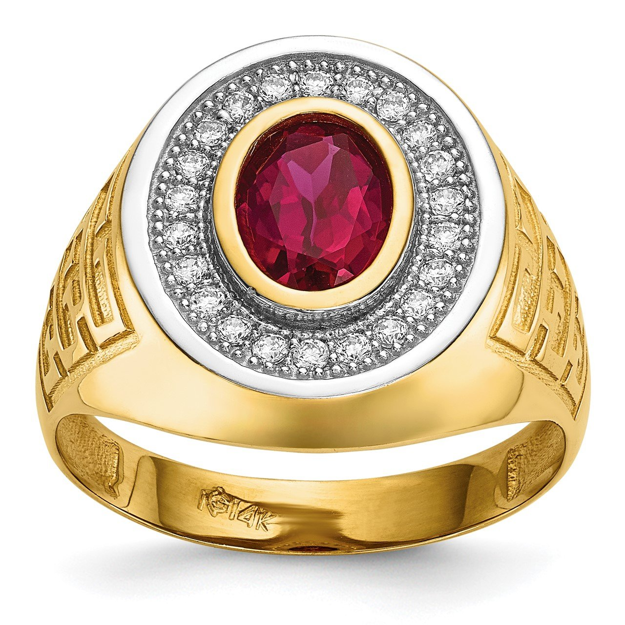 14k with Rhodium CZ and Oval Red CZ Mens Ring