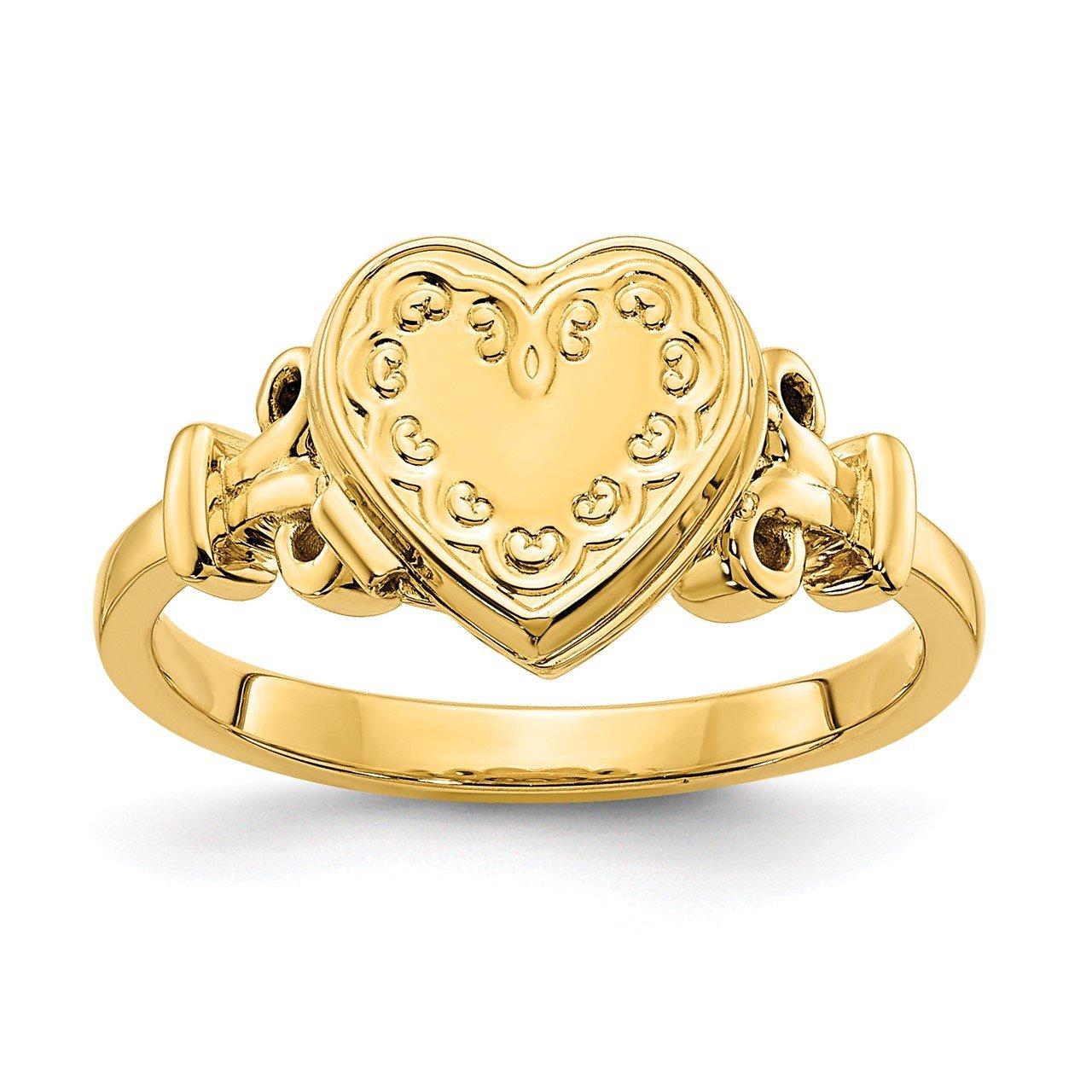 14ky 10mm Heart Shaped (8x8mm Photos) Locket Ring