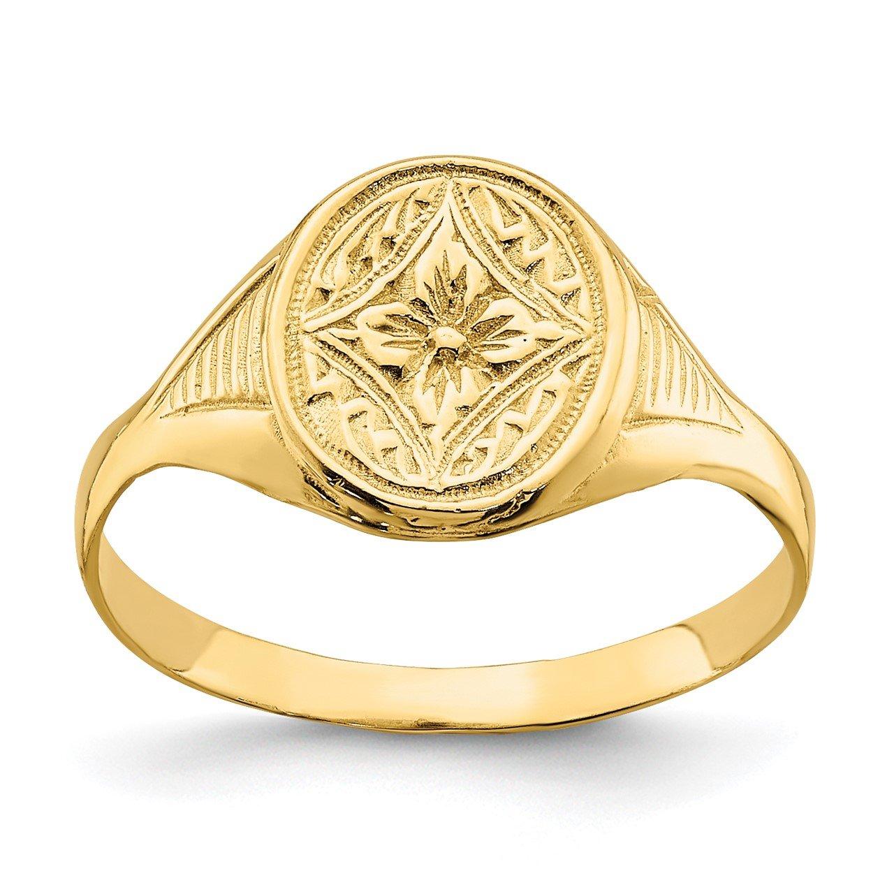 14k Oval Star Diamond Center Baby Ring