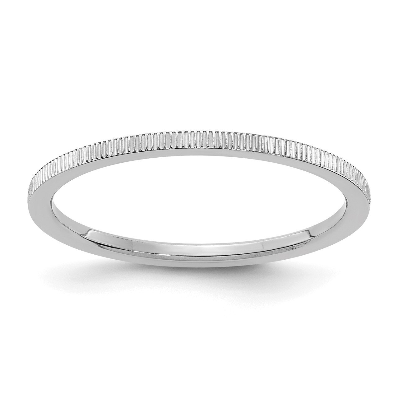 14K White Gold 1.2mm Line Pattern Stackable Band