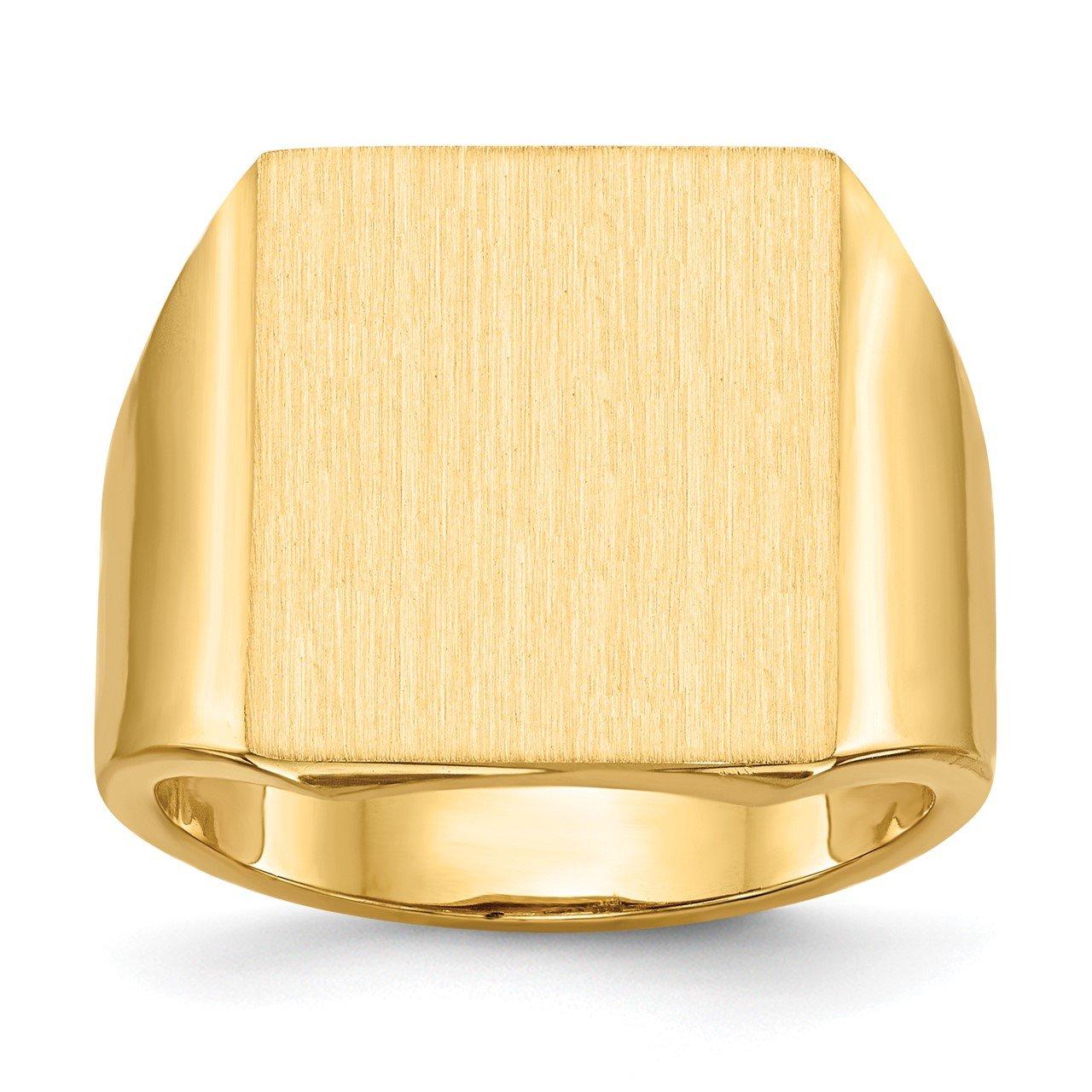 14k 17.5x15.5mm Open Back Mens Signet Ring