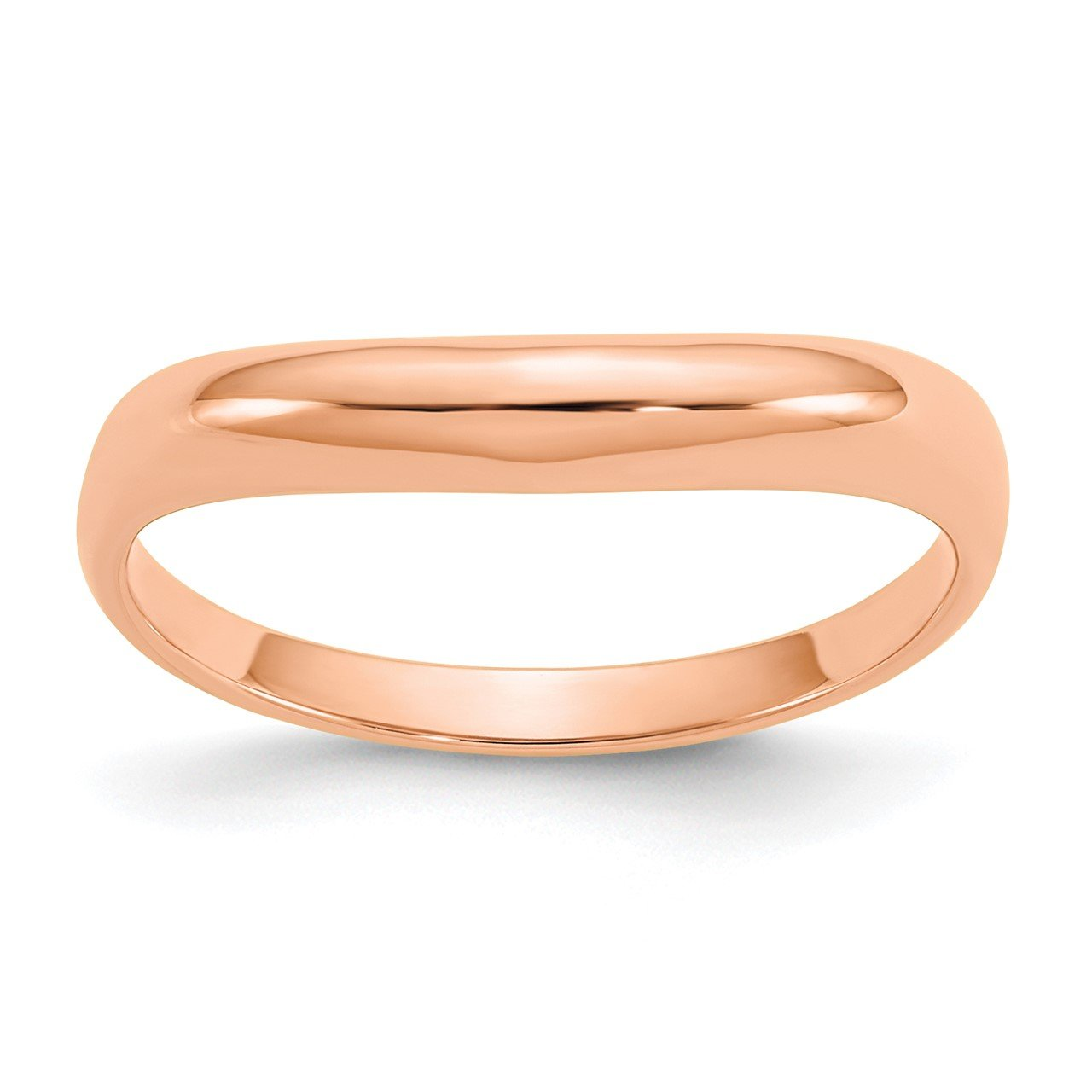14k Rose Gold Polished Stackable Wave Ring