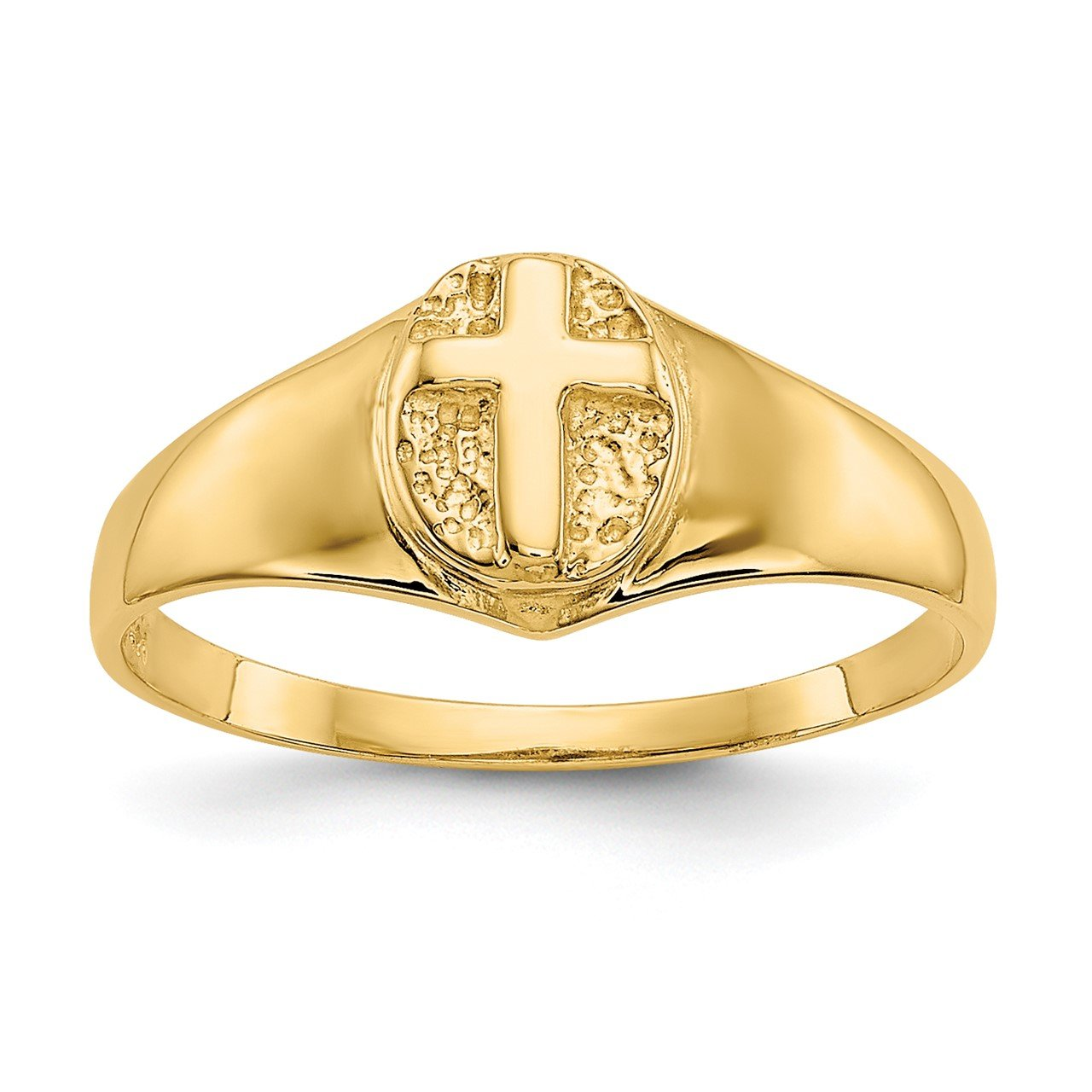 14k Childs Polished Open Cross Ring