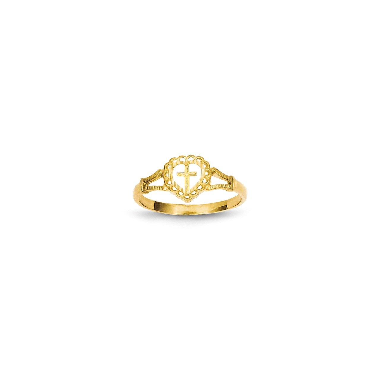 14K Diamond-Cut Childs Heart and Cross Ring