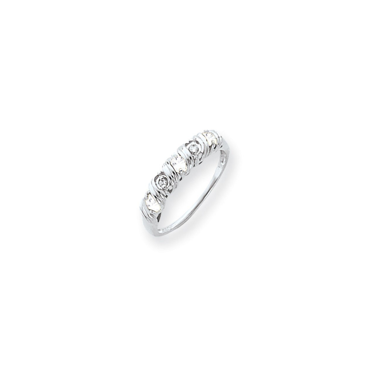 14k White Gold 2.75mm Cubic Zirconia AAA Diamond ring