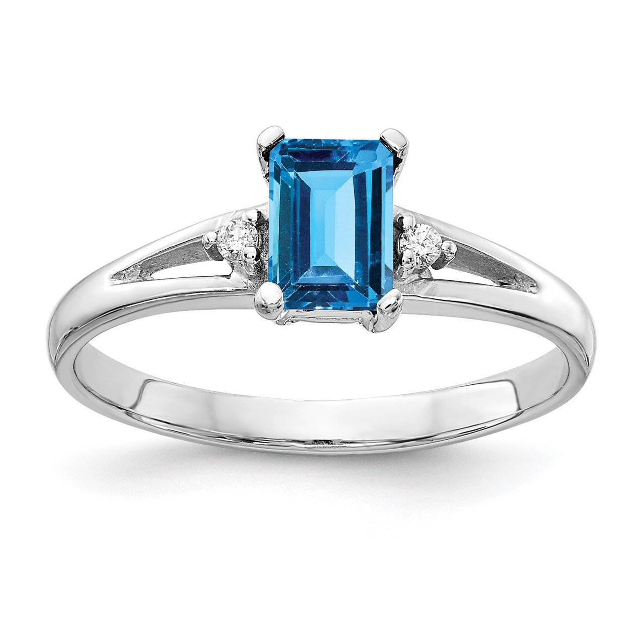 14k White Gold 6x4mm Emerald Cut Blue Topaz AA Diamond ring