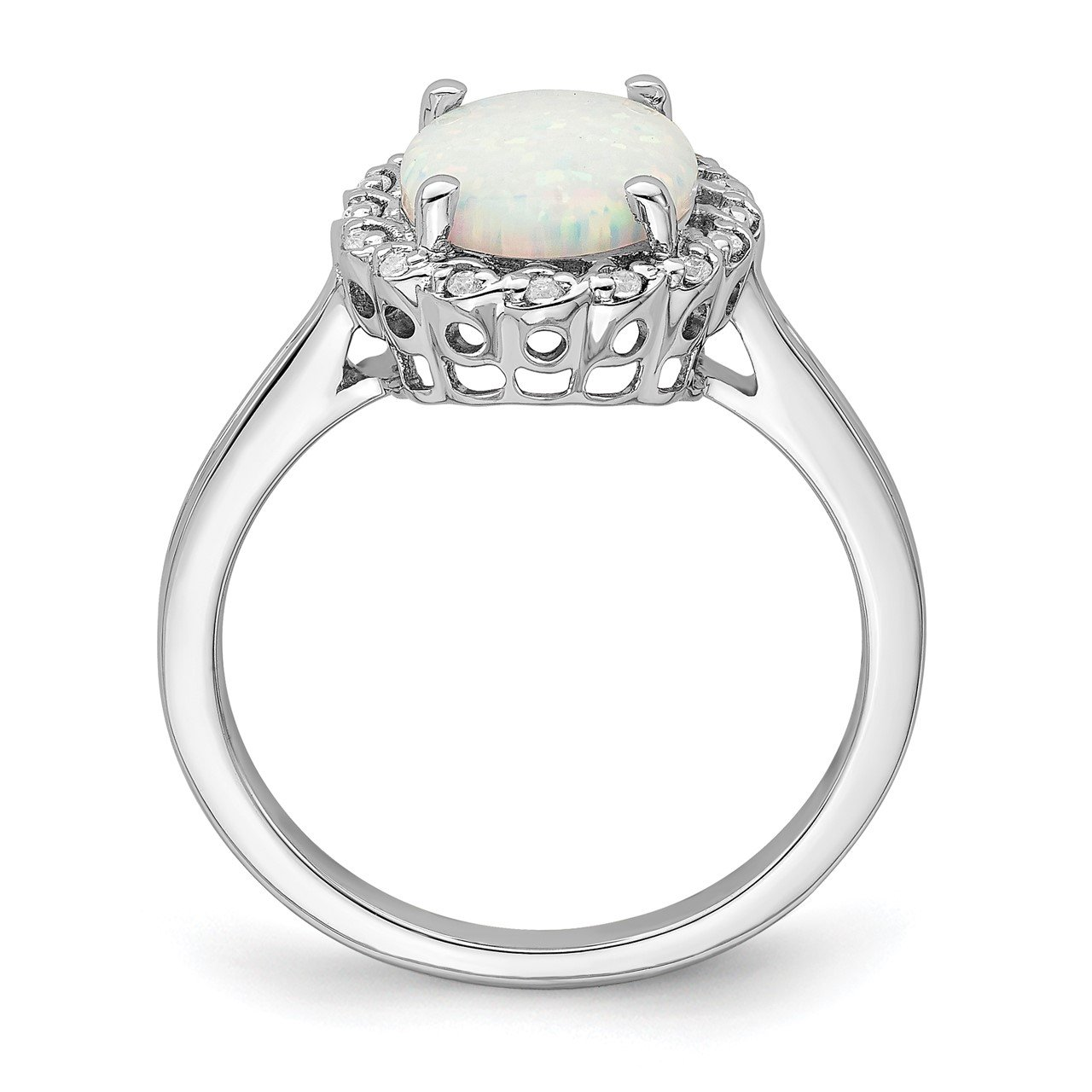 14k White Gold Created Opal and Diamond Halo Ring-1