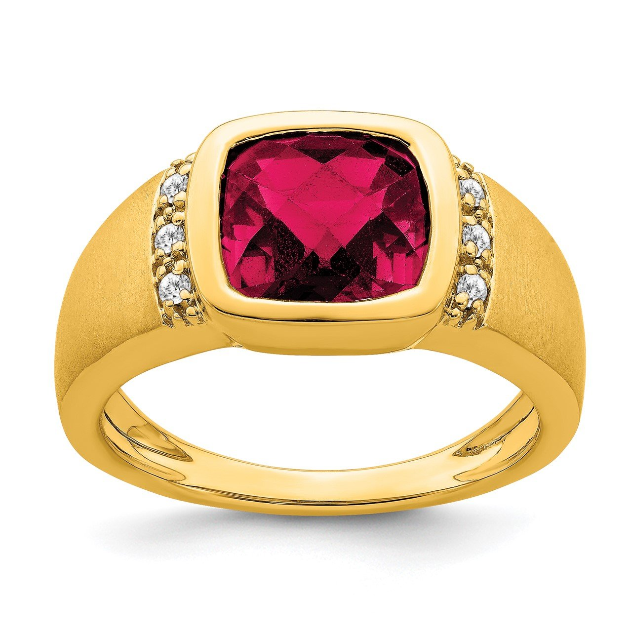 14k Created Ruby and Diamond Mens Ring