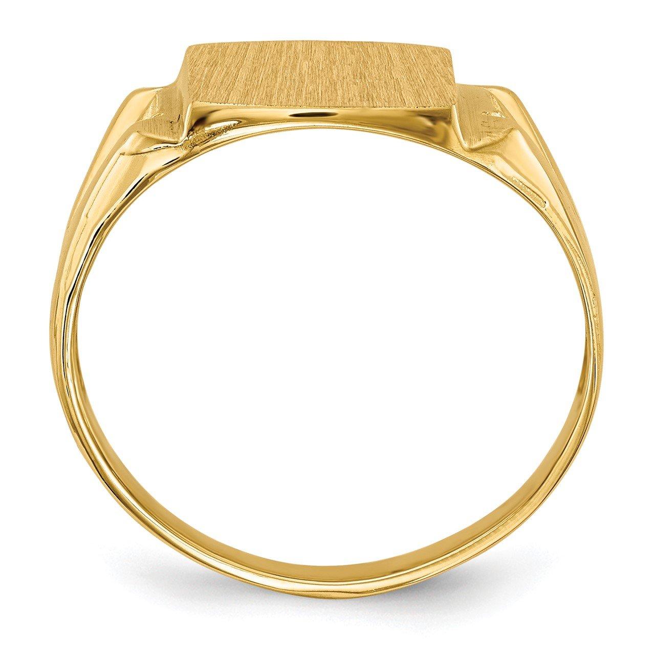 14k 12.0x11.0mm Open Back AA Diamond Men's Signet Ring-1