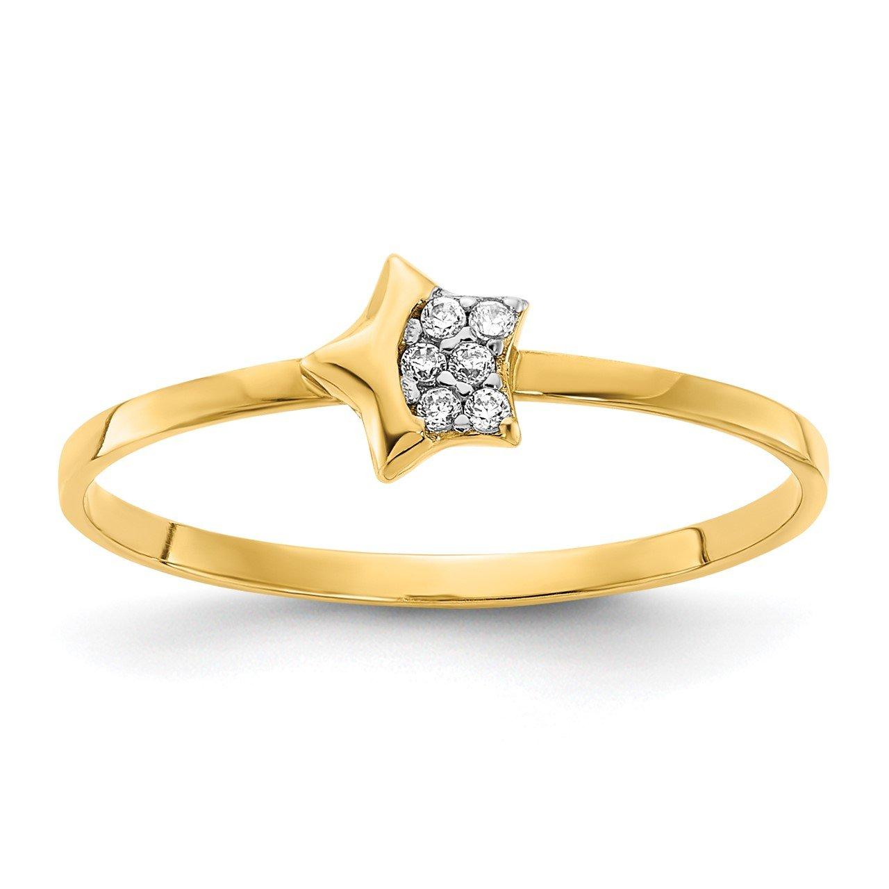 14K Polished CZ Star Ring