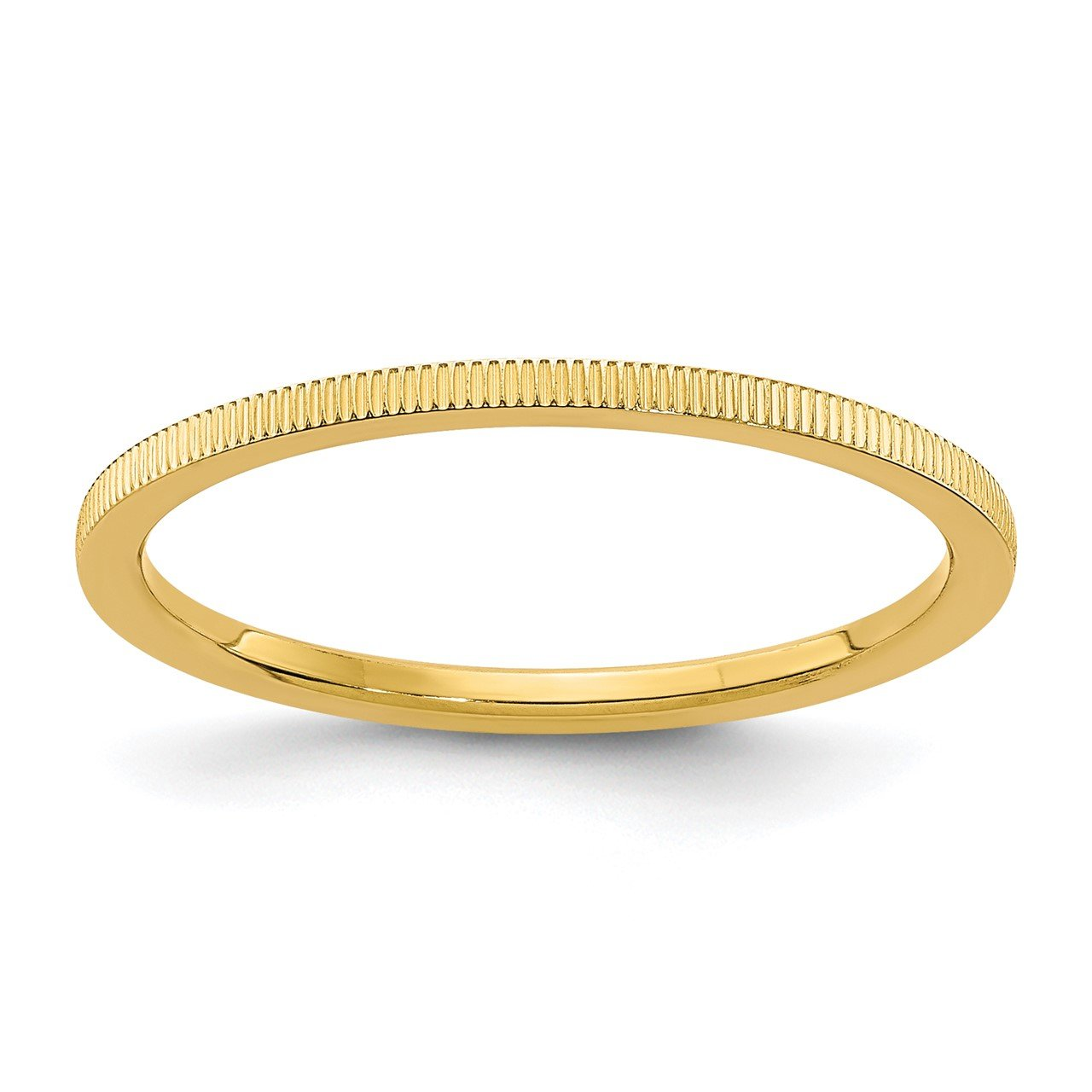14K Gold 1.2mm Line Pattern Stackable Band