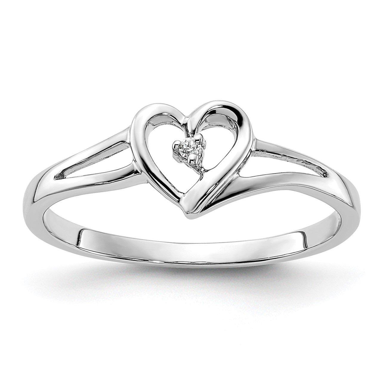 14k White Heart Complete Diamond Promise Ring