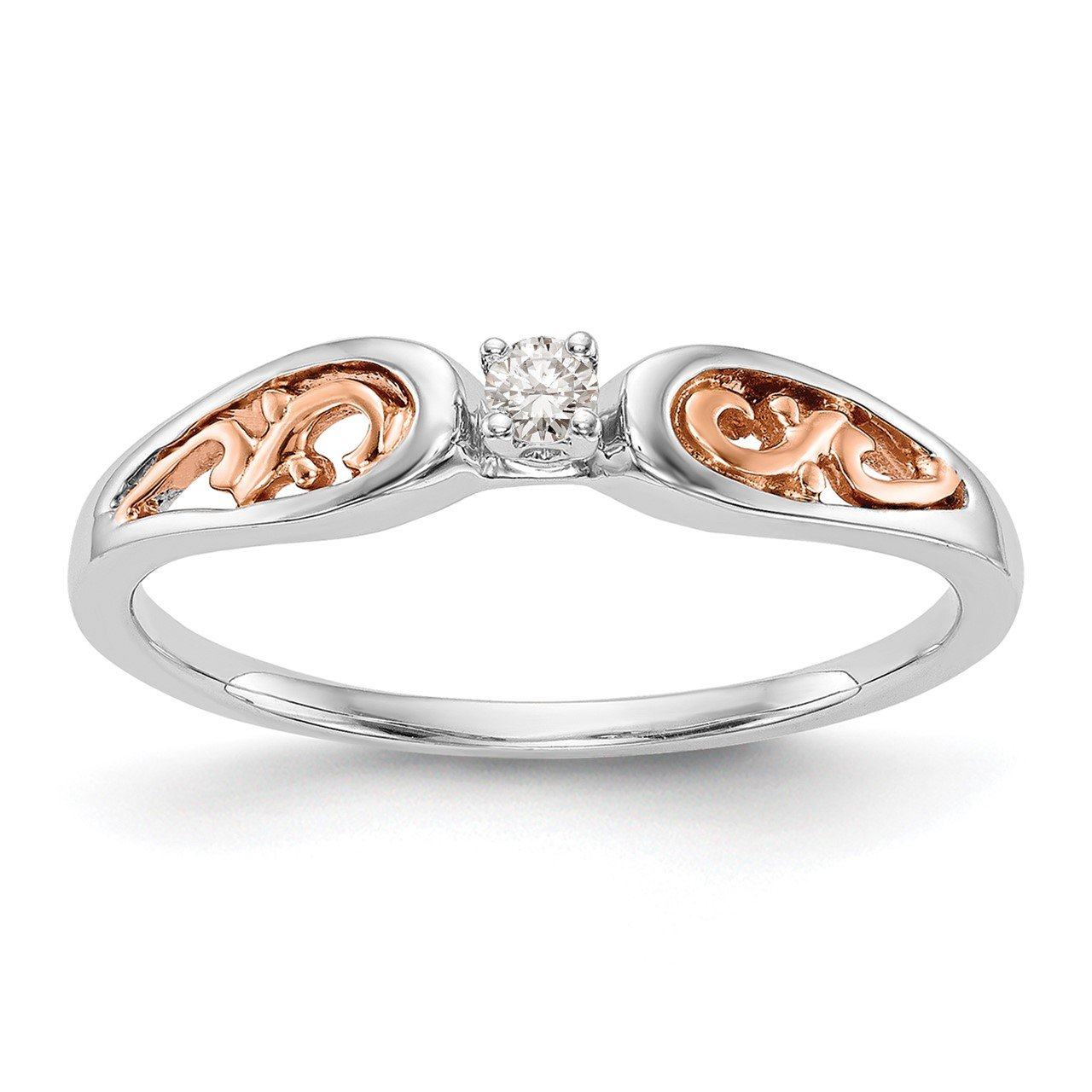 14K White Gold and Rose Gold Comp. Diamond Promise/Engagement Ring