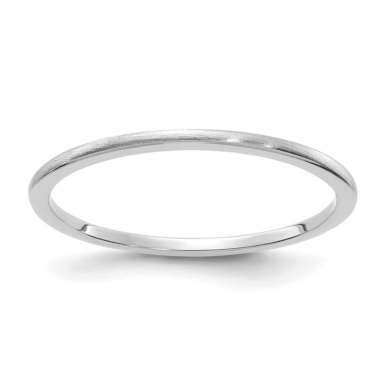 14K White Gold 1.2mm Half Round Satin Stackable Band