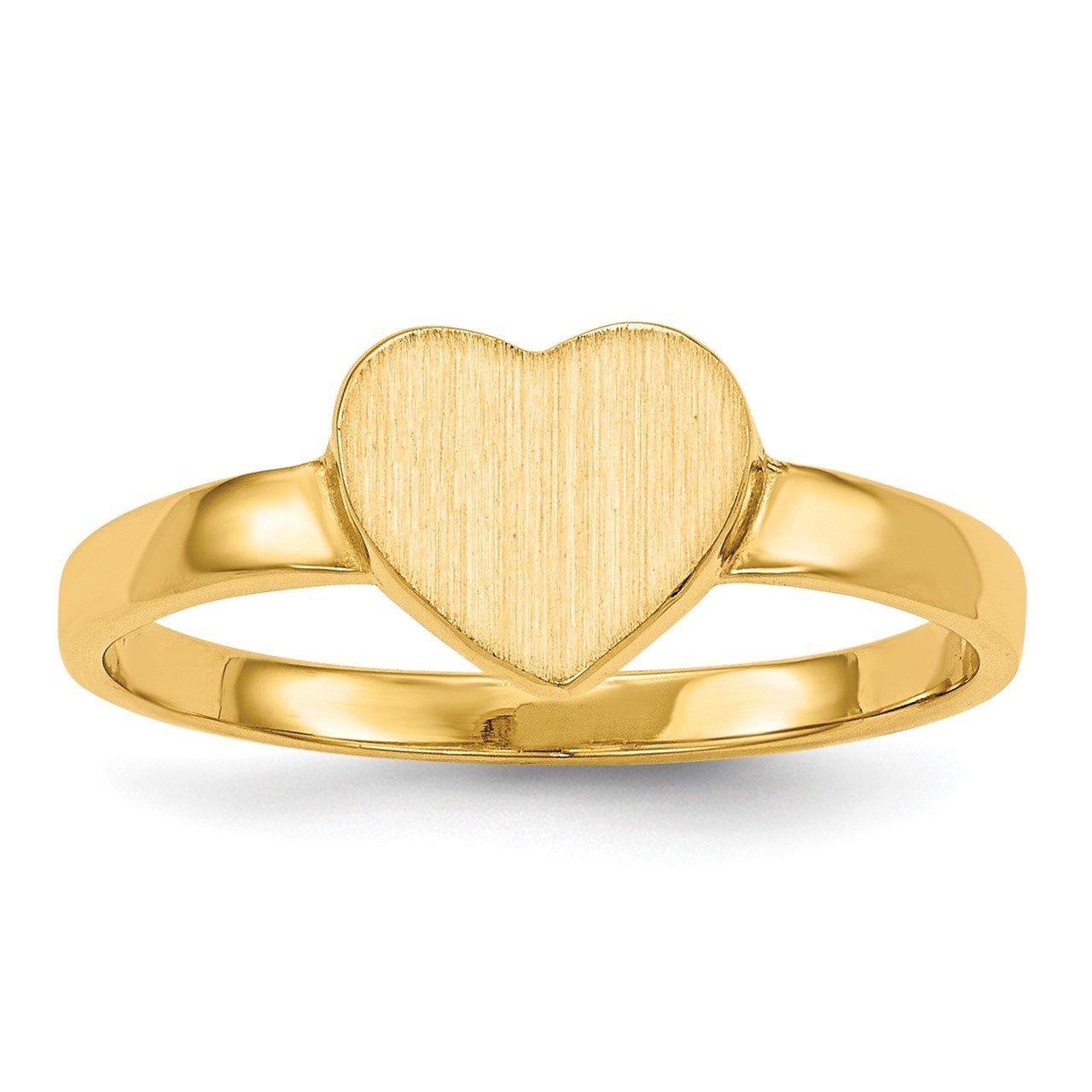 14k 6.5x7.5mm Open Back Heart Signet Ring