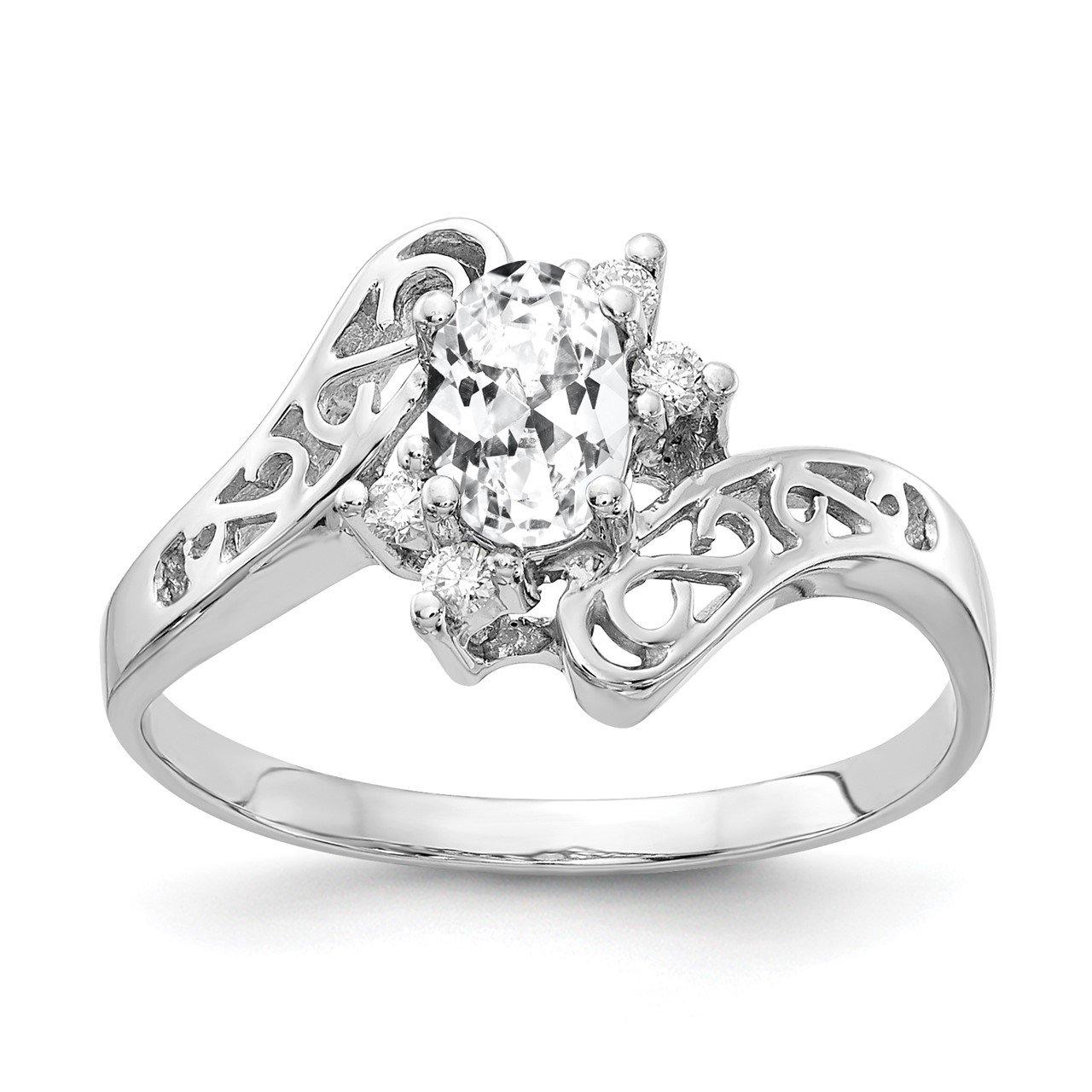 14k White Gold 6x4mm Oval Cubic Zirconia AA Diamond ring