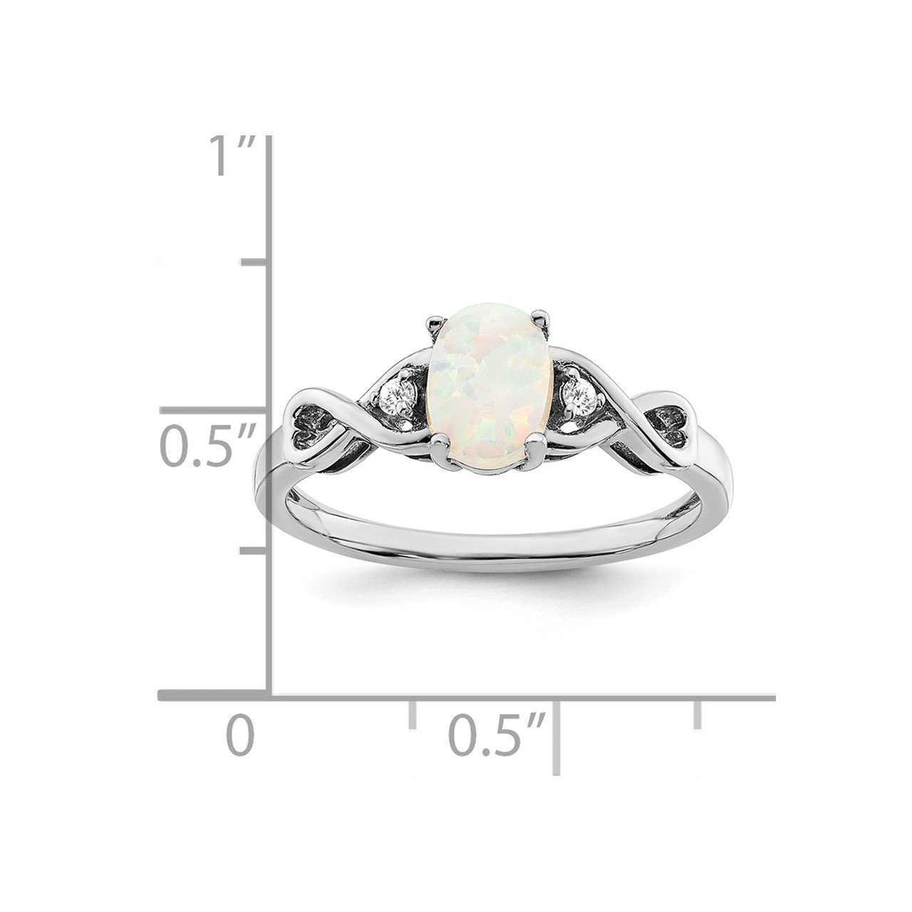 14k White Gold Created Opal and Diamond Ring-2