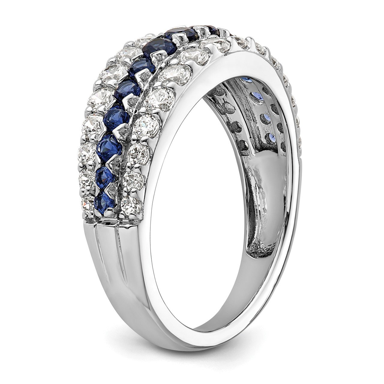 14kw Created Blue Sapphire and Lab Grown Diamond SI1/SI2, G H I, Ring-5
