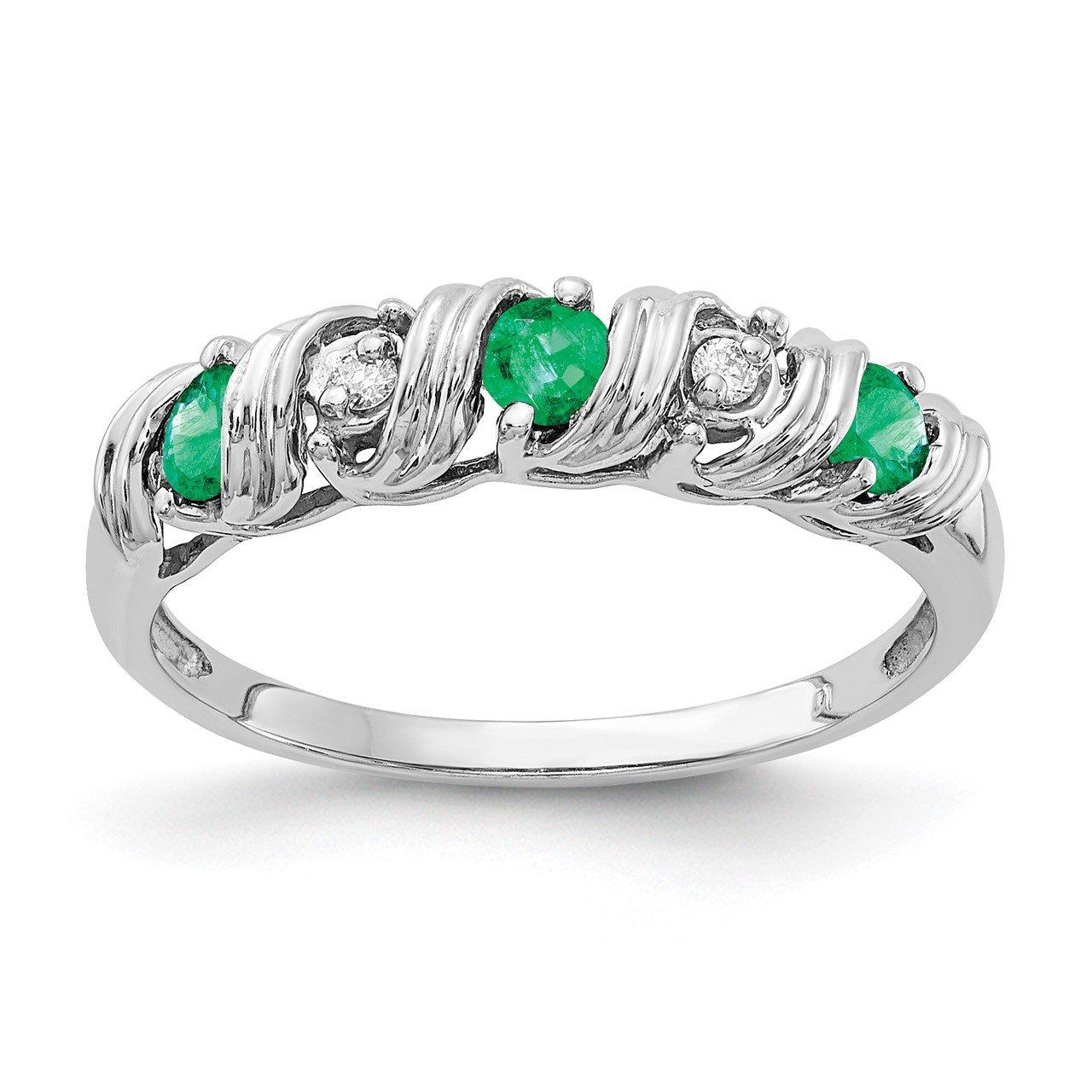 14k White Gold 2.75mm Emerald AA Diamond ring