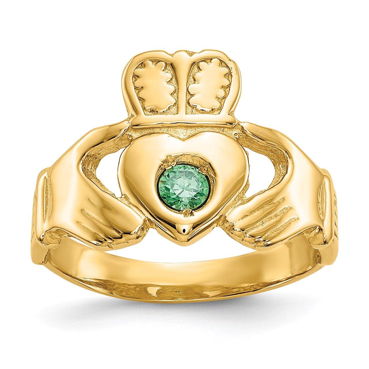 14k Imitation Green Stone Claddagh Ring