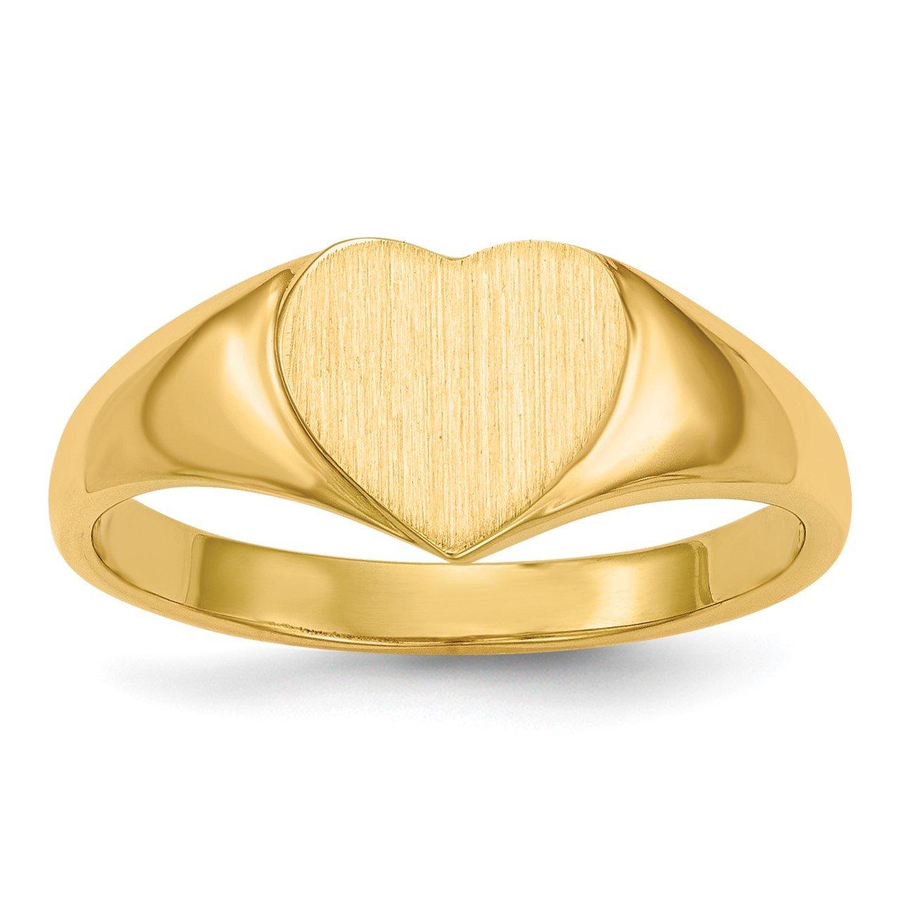 14k 7.5x8.5mm Open Back Heart Signet Ring