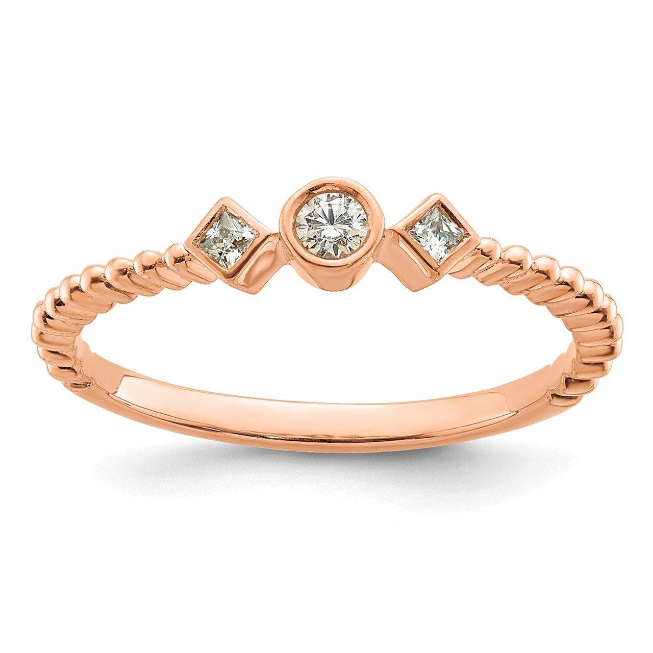 14k Rose Polish Scalloped Band Petite Round Complete Dia Ring