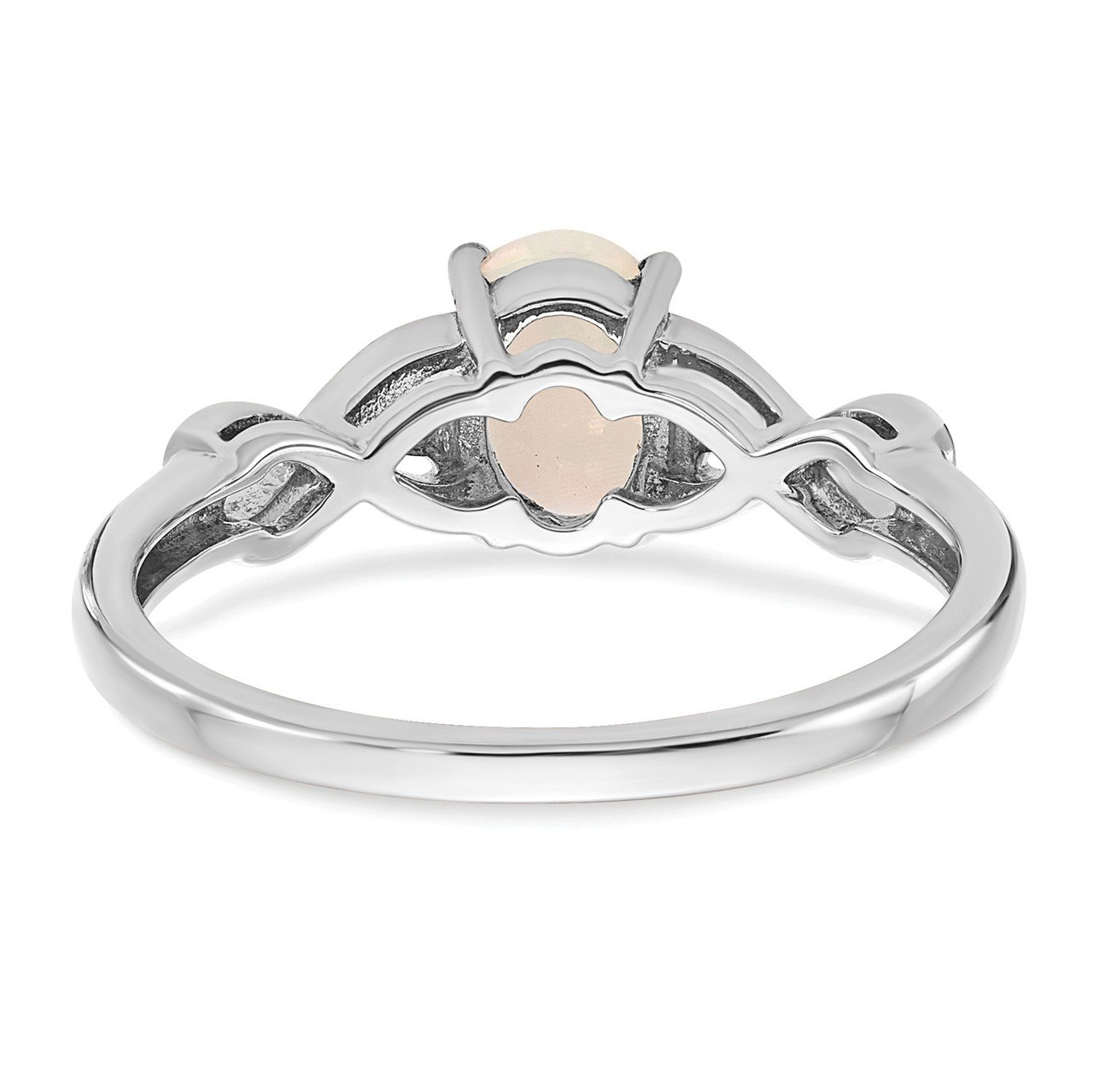 14k White Gold Created Opal and Diamond Ring-5