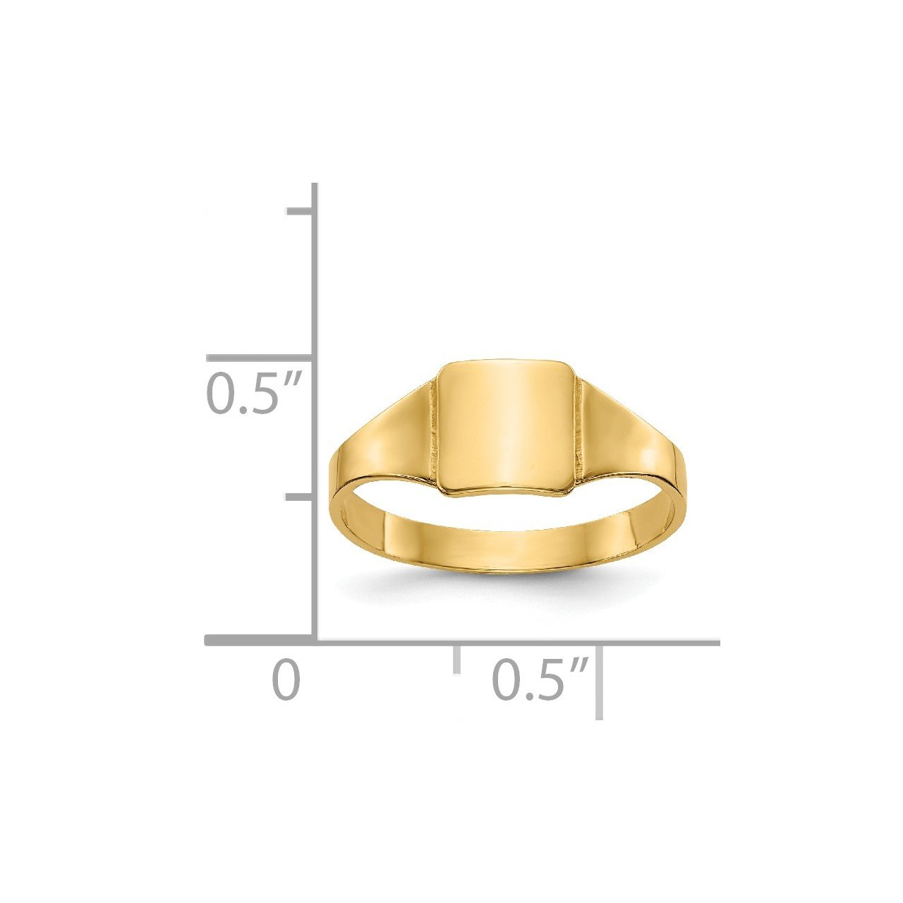 14k Polished Square Signet Baby Ring-2