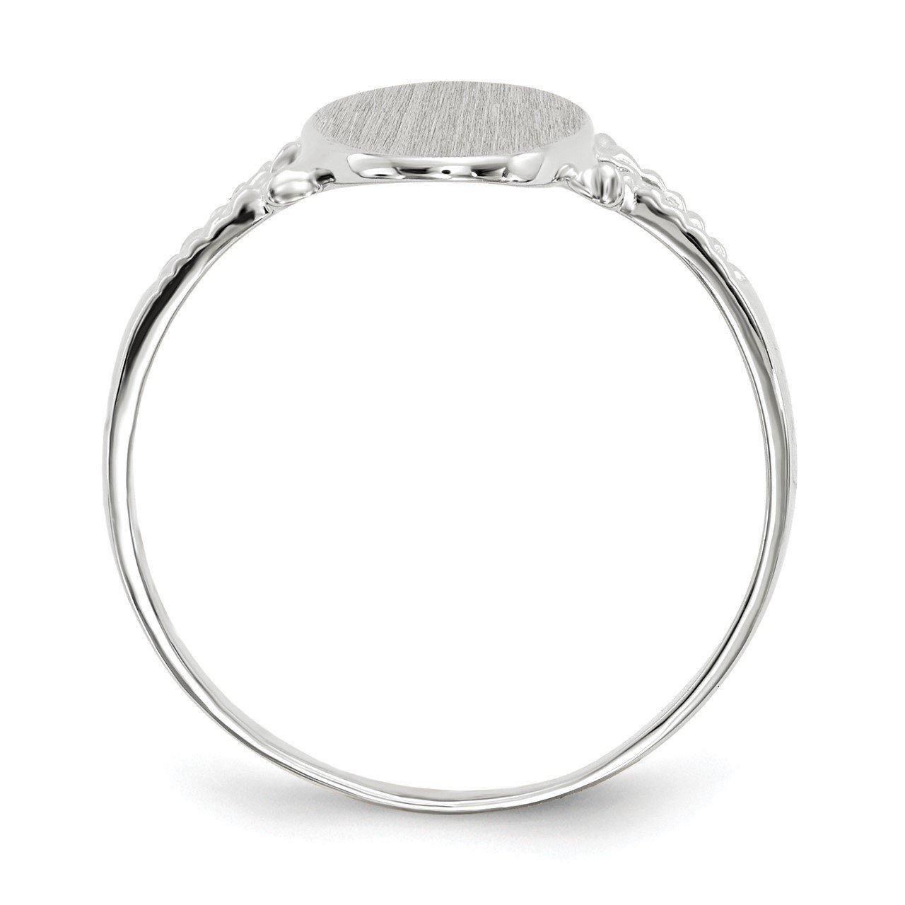 14k White Gold 13.5x8.5mm Closed Back Signet Ring-1