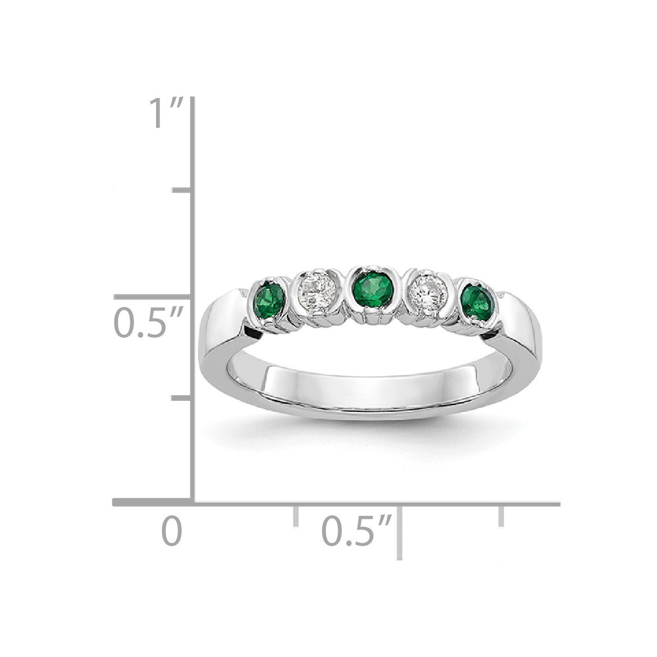 14k White Gold Diamond with Emerald Band-1